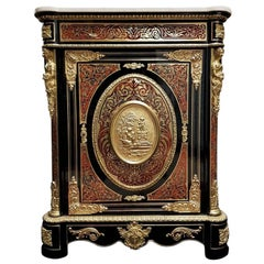 Napoleon III Cabinet in Tortoiseshell and Brass Boulle Marquetry, 19th Century