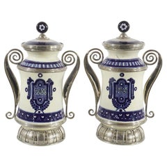 Ceramic and White Metal 'Alpaca' Pair of Blue and White Pharmacy Jars