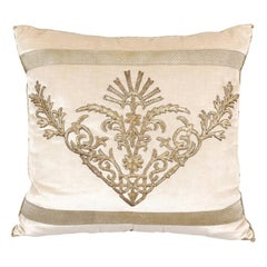 Antique Ottoman Empire Raised Silver Metallic Embroidery on Oyster Velvet Pillow