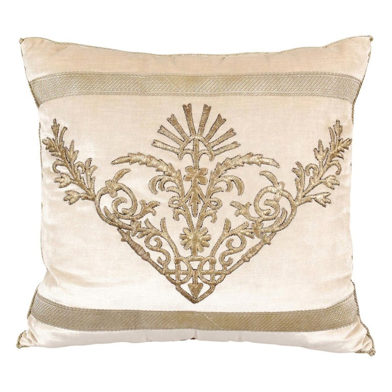 Antique Ottoman Empire Raised Silver Metallic Embroidery on Oyster Velvet Pillow For Sale