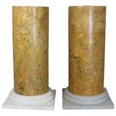 Large Pair of 19th Century Scagliola Sienna Marble Statuary Pedestals