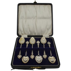 Set of 6 Early 20th Century Solid Silver Cased Tea Spoons