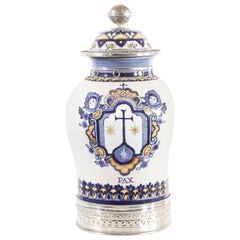 Blue and White Jar, Ceramic and White Metal 'Alpaca', Handmade