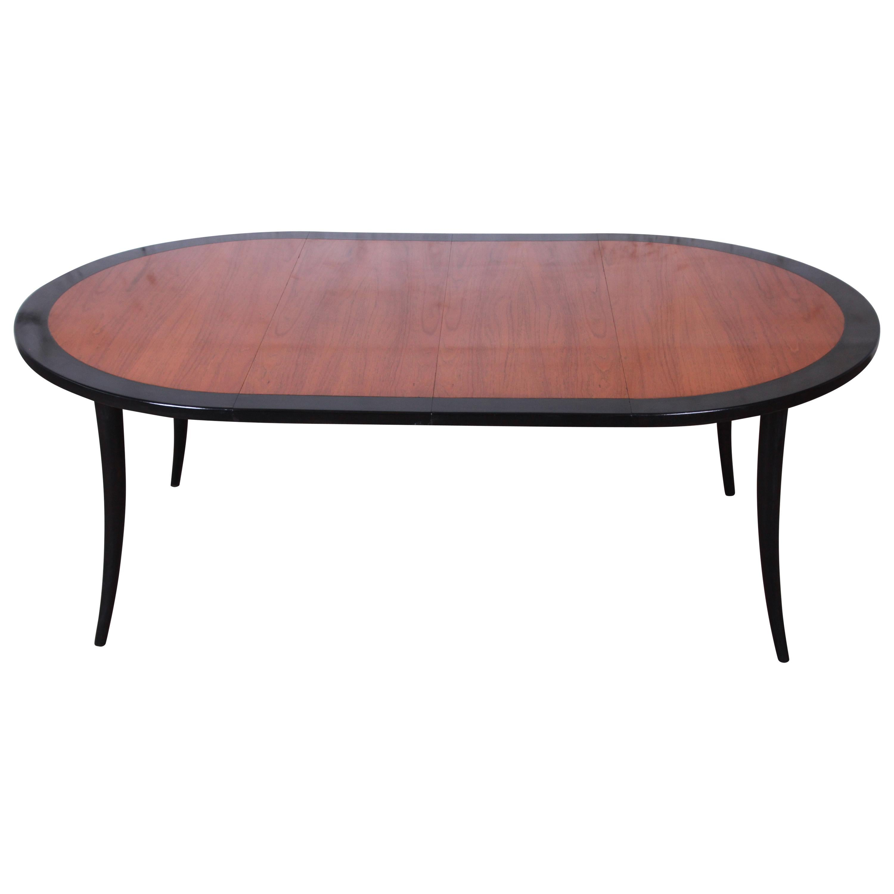 Harvey Probber Teak and Black Lacquer Saber Leg Extension Dining Table, 1950s