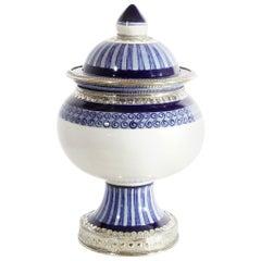 """Blau und weiß Glas, Keramik und Weißmetall """"Alpaka"""", handgefertigt"""