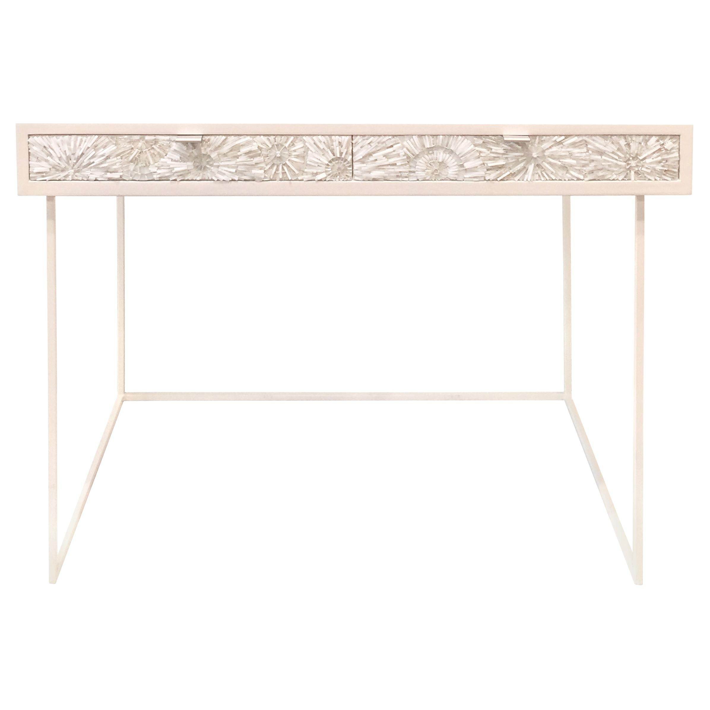 Customizable White Blossom Glass Mosaic Desk with Metal Base by Ercole Home