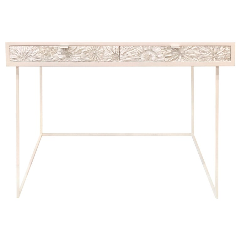 Customizable White Blossom Glass Mosaic Desk with Metal Base by Ercole Home For Sale