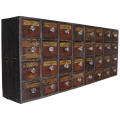 Victorian Bank of Faux Mahogany and Ebonised Chemist or Apothecary Drawers