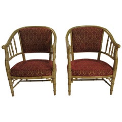 4 1960s Faux Bamboo Tub Chairs