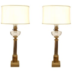 Pair of English Victorian Brass Fluted Column Table Lamps