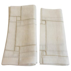 Linen Napkins with Square Cutout Design