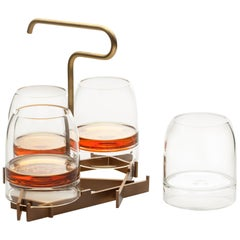 Rare Presenter Set with Four Contemporary Whiskey Glasses Handmade in Stock