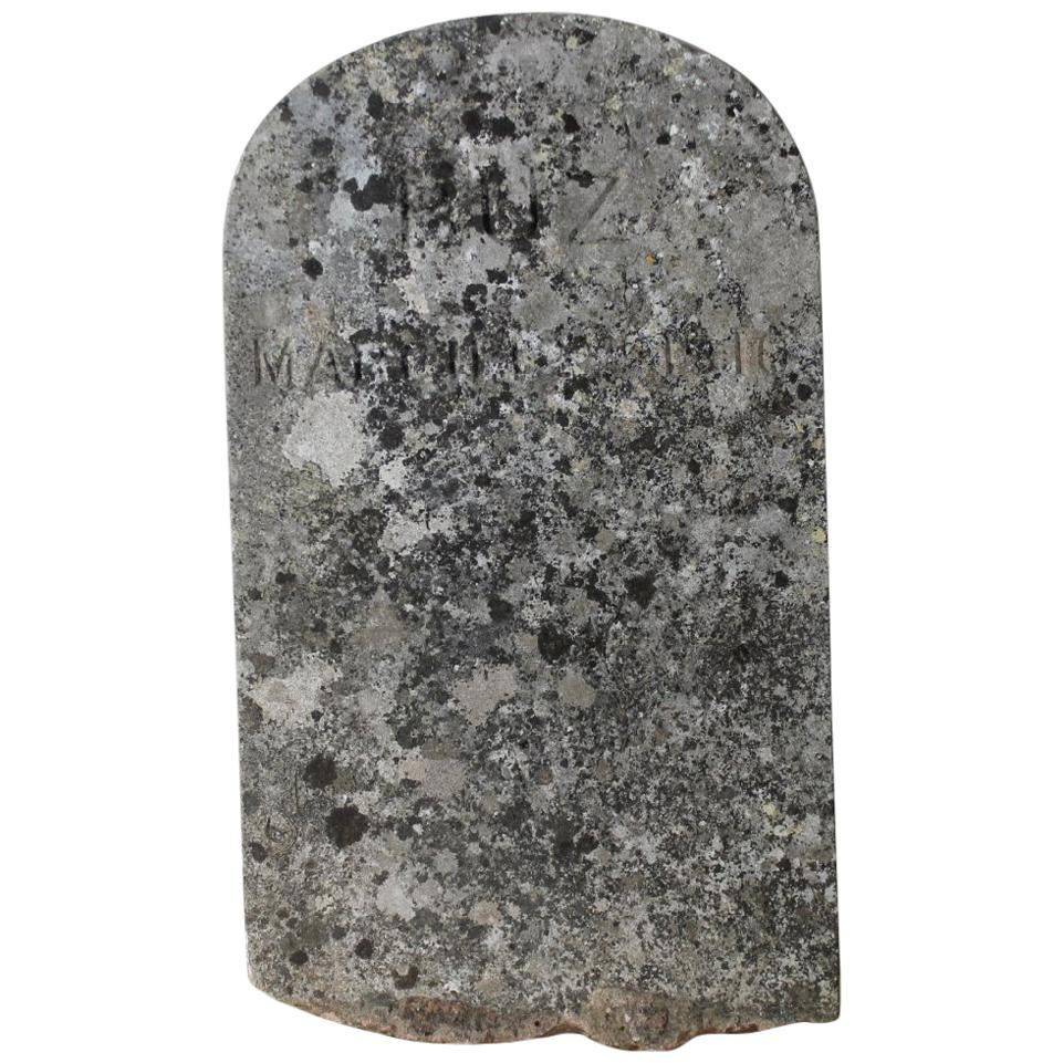 Early 20th Century Carved Stone Pet Headstone 'Buz'