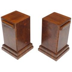 Pair of Art Deco Square Burl Walnut Pedestals