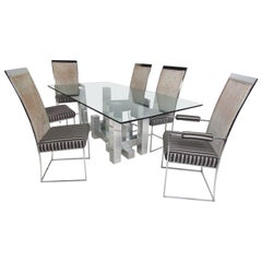 Mid-Century Modern Paul Mayen Dining Table and Six Chairs