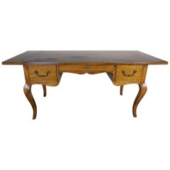 French Country Walnut Desk with Drawers circa 1930