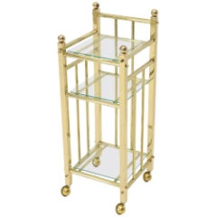 Mid-Century Modern Brass and Glass Square Stand Table Cart Pedestal on Wheels
