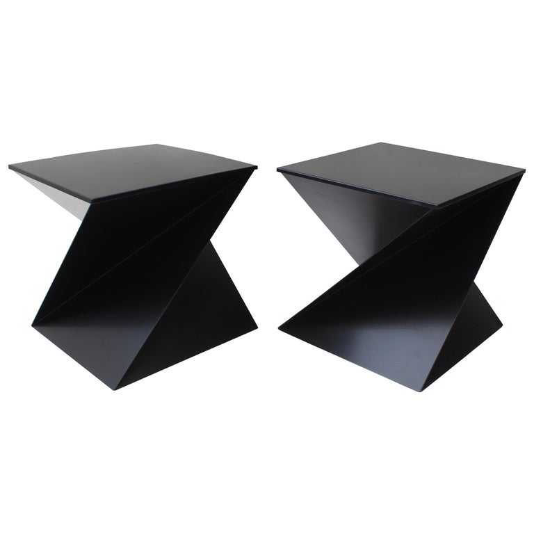Pair Of Black Metal Zig Zag Side Tables For Sale At 1stdibs