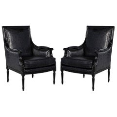 Pair of Louis XVI Style Bergère Club Lounge Armchairs in Croc Leather