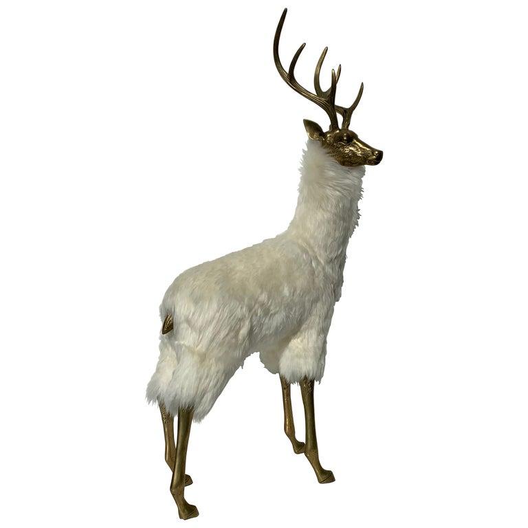 Brass Deer Sculpture in Fur For Sale