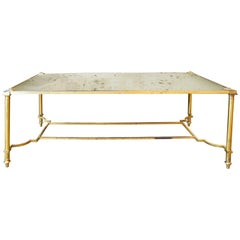 Vintage French Coffee Table with Antiqued Mirrored Top