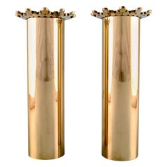 Pair of Brass Vases Designed by Pierre Forsell for Skultuna