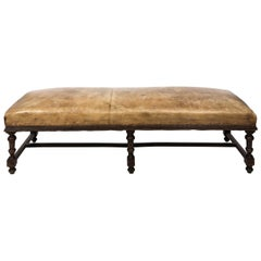 Early 20th Century Leather Jacobean Bench