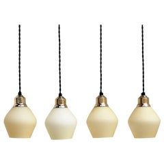 Set of 4 Opal Glass Lights with Brass Top, Danish Midcentury Design, 1940s