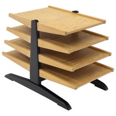 Mid-Century Modern Oak 4-Tier Magazine Rack Stand Shelf Storage