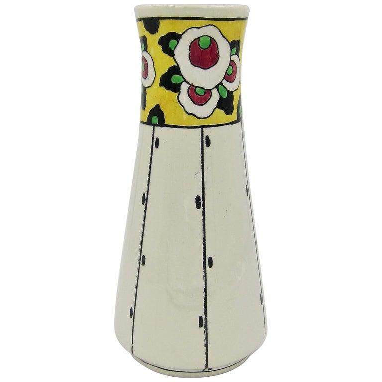 Boch Freres La Louvière Hand Painted Art Deco Vase For Sale