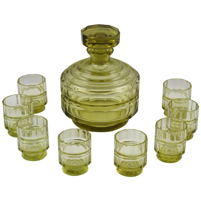 Art Deco Barware Bohemian Crystal Liquor Alcohol Decanter and Glass Set 9 Pieces For Sale