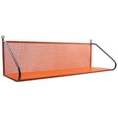 Mathieu Matégot Style Orange and Black Perforated Metal Wall Mounted Shelf