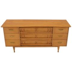 Mid-Century Modern Light American Walnut 9 Drawers Dresser