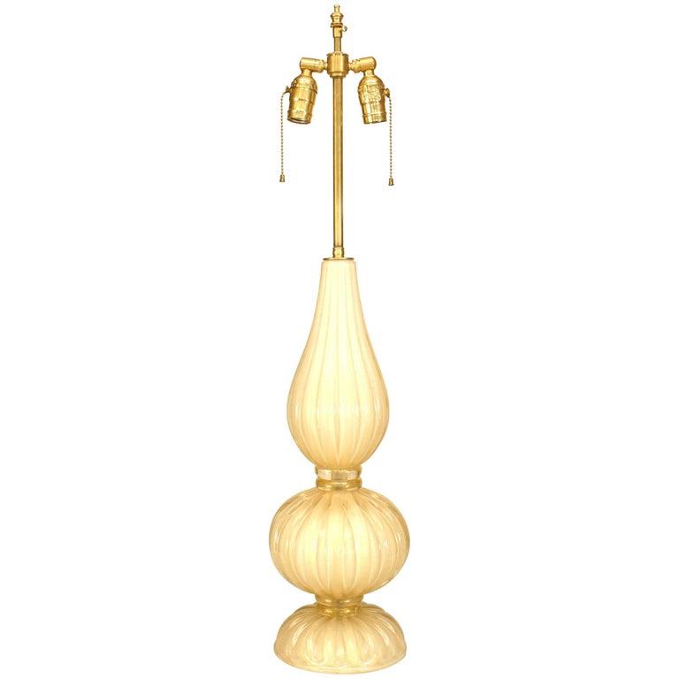 """Italian Murano """"Incamiciato"""" Fluted Glass Table Lamp For Sale"""
