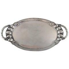 """Large Georg Jensen """"Melon"""" Serving Platter in Sterling Silver, Model Number 159B"""