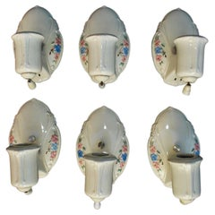 Beautiful Set of Six Porcelain Sconces