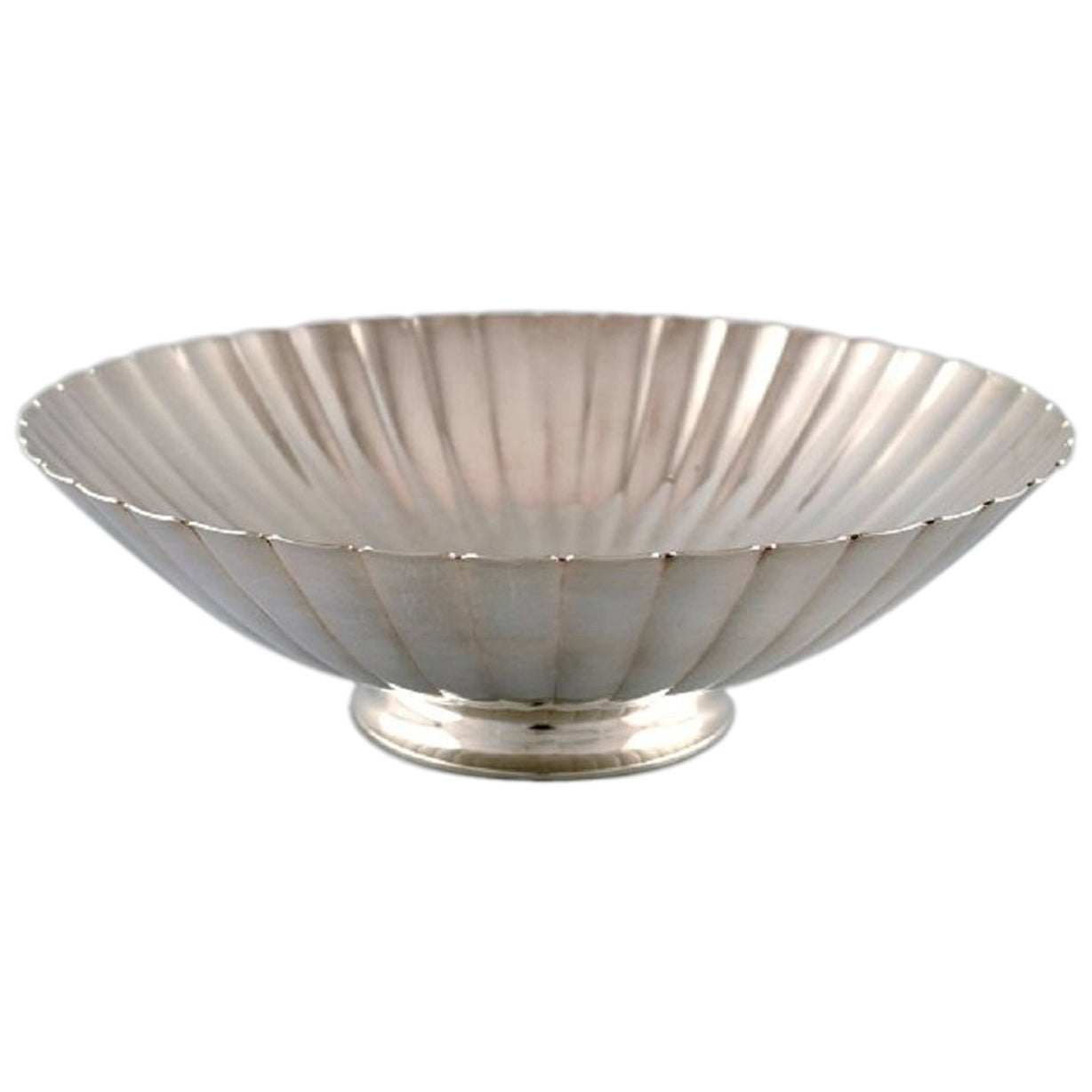 Georg Jensen Large Art Deco Sterling Silver Bowl in Fluted Style
