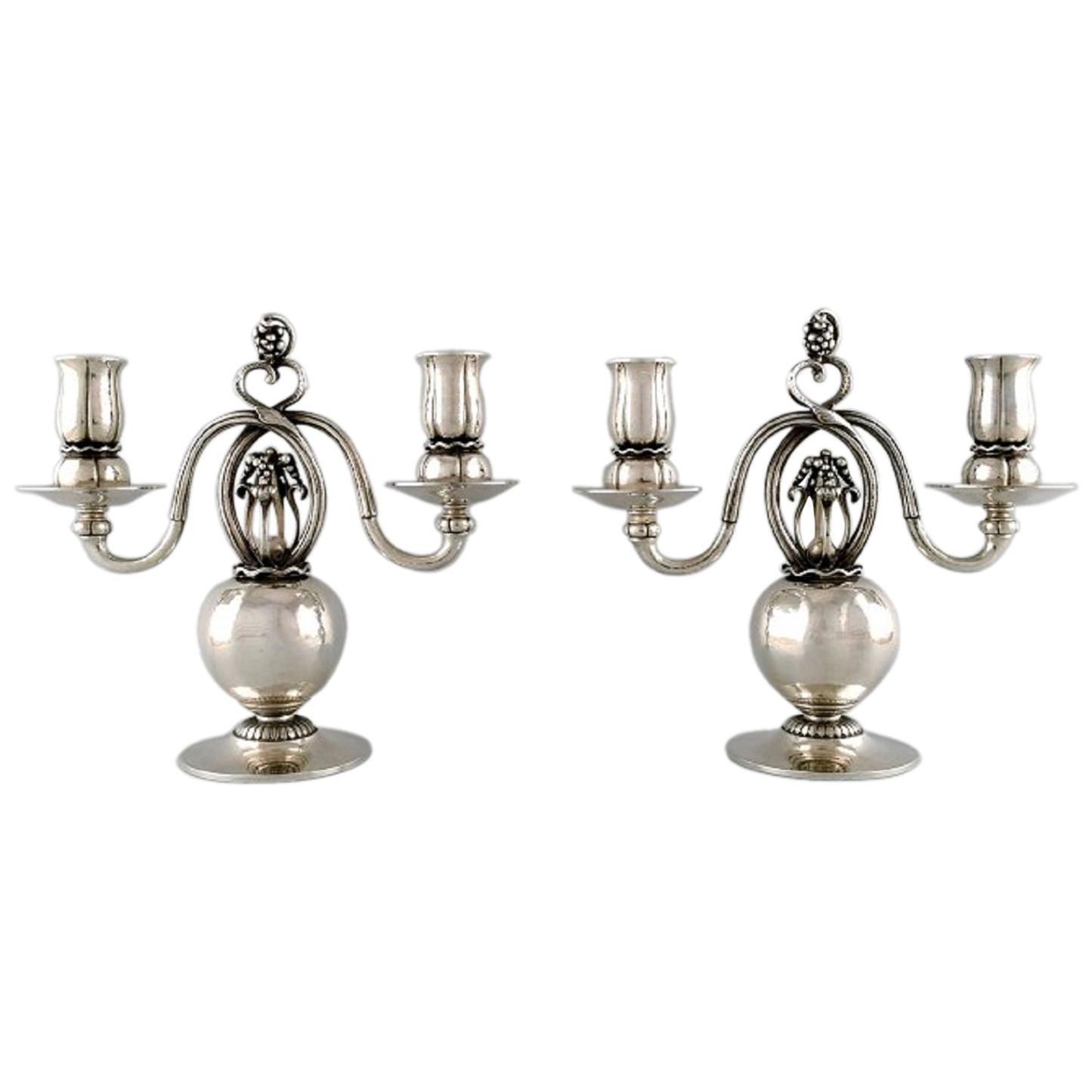 Pair of Danish Silver Two-Light Candelabras, Designed by Georg Jensen