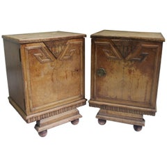 Unique Set of 2 Geometric Art Deco Spanish Nightstands or Side Tables, 1920s