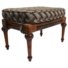 Rattan and Turned Wood Footstool Ottoman Pouf Attributed to Ficks Reed