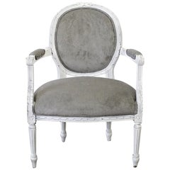 Early 20h Century Carved and Painted French Louis XVI Style Open Armchair