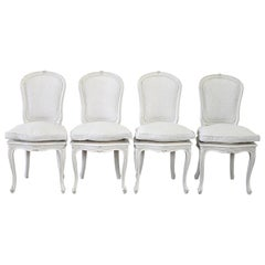 Set of 4 Painted and Upholstered Linen Louis XV Style Dining Chairs