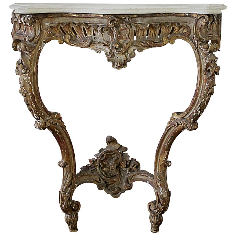 19th Century Giltwood Louis XV Style Console with Marble Top For Sale
