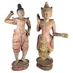Pair of Balinese Figural Sculptures