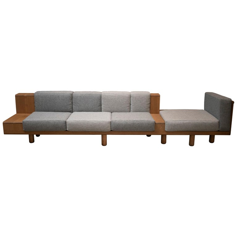 Two Way Sofa in White Oak Frame with Kvadrat Fabric Cushions For Sale