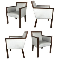 Luxurious Set of Four Leather Armchairs by John Hutton for Sutherland