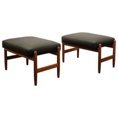 Pair of Leather and Teak Ottomans, Denmark, 1950s