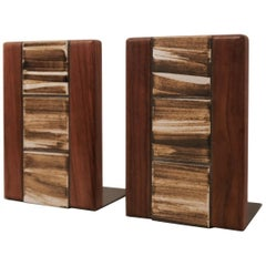 Jane and Gordon Martz Walnut Ceramic Bookends for Marshall Studios
