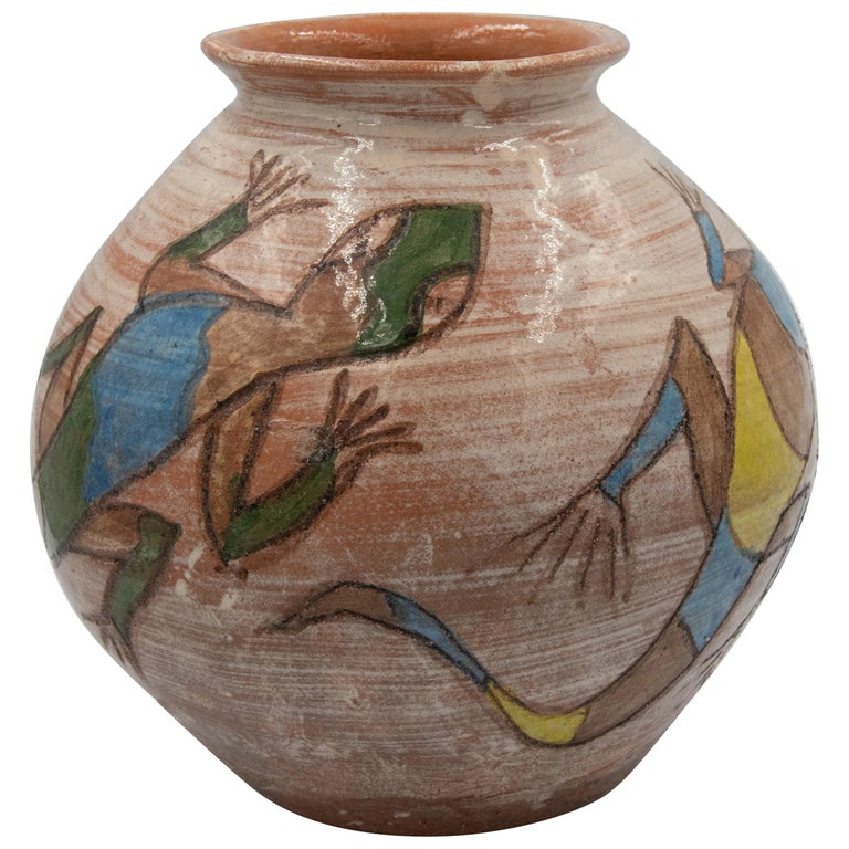 Mexican Antique Dolores Porras Lizard Clay Pottery Folk Art Terracotta Vase For Sale