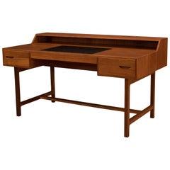 Vintage Scandinavian Teak Desk with Leather Writing Top